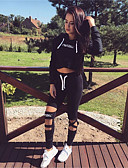 cheap Women's Two Piece Sets-Women's Short Hoodie - Letter, Print High Waist Pant Hooded / Spring / Fall / Sporty Look