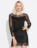 cheap Women's Dresses-Women's Going out Sheath Dress - Solid Colored Lace / Cut Out