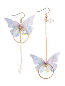 cheap Maxi Dresses-Women's Pearl Mismatched Long Drop Earrings - Imitation Pearl Butterfly Fashion Gold For Party