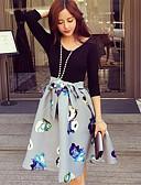 baratos Vestidos Estampados-Mulheres Para Noite Vintage / Moda de Rua Bainha / Rodado Vestido - Estampado, Floral Cintura Alta Altura dos Joelhos