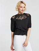 billige T-shirt-Dame - Ensfarvet Bomuld Bluse / Sommer / Blonde
