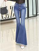 baratos Calças Femininas-Mulheres Vintage Algodão Jeans Calças - Sólido / Para Noite / Bandagem