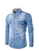 رخيصةأون قمصان رجالي-رجالي قطن قميص نحيل لون سادة أزرق XXXXL / كم طويل