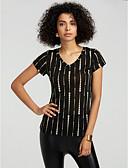 baratos Vestidos de Mulher-Mulheres Camiseta Listrado Algodão Decote V