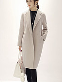 cheap Women's Coats & Trench Coats-Women's Daily / Going out Casual Fall / Winter Long Coat, Solid Colored Shirt Collar Long Sleeve Cotton Pink / Beige / Gray L / XL / XXL