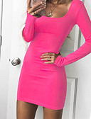 cheap Sweater Dresses-Women's Going out Basic Bodycon Dress - Solid Colored Square Neck Spring Black Fuchsia Wine L XL XXL / Skinny