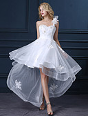 cheap Flower Girl Dresses-A-Line One Shoulder Asymmetrical Satin / Tulle Made-To-Measure Wedding Dresses with Sequin / Appliques by LAN TING Express