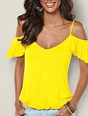 זול שמלות נשים-אחיד כתפיה סגנון רחוב ליציאה טישרט - בגדי ריקוד נשים גב חשוף שרוול פרפר / קיץ / סתיו / תחרה