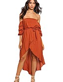 cheap Women's Dresses-Women's Party Puff Sleeve Trumpet / Mermaid Dress - Solid Colored Asymmetrical Off Shoulder