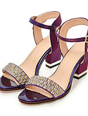cheap Mother of the Bride Dresses-Women's Shoes PU(Polyurethane) Spring / Fall Comfort / Novelty Sandals Chunky Heel Open Toe Rhinestone / Buckle Beige / Purple / Red