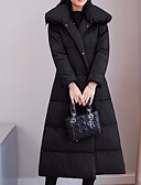 זול שמלות נשים-L / XL / XXL שחור / יין כותנה, מעיל פרקה שרוול ארוך אחיד ליציאה בגדי ריקוד נשים