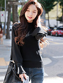 olcso Női pulóverek-Női Utcai sikk Alkalmi Pulóver - Fodrozott, Egyszínű Terített nyak