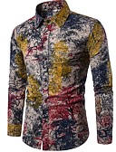 cheap Men's Shirts-Men's Club Chinoiserie Boho Linen Shirt - Floral Standing Collar