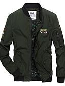 זול גברים-ג'קטים ומעילים-אחיד רגיל ארוך ג'קט - בגדי ריקוד גברים, גדול כותנה / שרוול ארוך