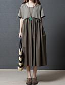 זול שמלות נשים-מותניים גבוהים מידי קפלים, צבע אחיד - שמלה משוחרר כותנה ליציאה בגדי ריקוד נשים