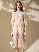 זול שמלות נשים-צווארון V פרח, פרחוני - שמלה משוחרר בוהו בגדי ריקוד נשים