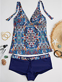 cheap Women's Hoodies & Sweatshirts-Women's Floral Halter Neck Tankini - Print
