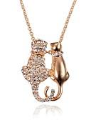 זול קווארץ-בגדי ריקוד נשים שרשראות תליון - יהלום מדומה חתול מתוק חמוד זהב שרשראות תכשיטים 1 עבור יומי