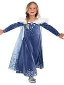 baratos Roupas de Meninas-Menina de Vestido Festa Para Noite Sólido Outono Todas as Estações Algodão Poliéster Manga Longa Fofo Activo Azul