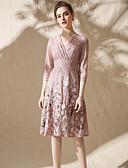 baratos Vestidos de Mulher-Mulheres Para Noite Moda de Rua Delgado balanço Vestido - Laço, Floral / Jacquard Decote V Médio