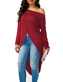 cheap Women's Blouses-Women's Club Going out Street chic Loose T-shirt - Solid Colored, Backless