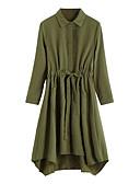 baratos Cintos de Moda-Mulheres Trabalho Algodão balanço Vestido Sólido Colarinho de Camisa Altura dos Joelhos
