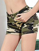 cheap Women's Pants-Women's Street chic Cotton Shorts Pants - Camouflage Tassel Green