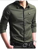 זול חולצות פולו לגברים-אחיד כותנה, חולצה - בגדי ריקוד גברים / שרוול ארוך