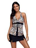 billige Bikinier og damemote 2017-Dame Grime Bikinikjole - Trykt mønster Leopard