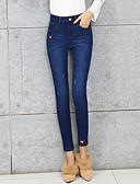 baratos Calças Femininas-Mulheres Cintura Alta Algodão Chinos Jeans Calças - Sólido