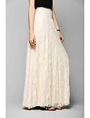 hesapli Kadın Etekleri-Kadın's Romantik Maksi Salıncak Etekler - Solid Dantel Dantel Beyaz Bej M L XL