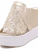 hesapli Kokteyl Elbiseleri-Kadın's Ayakkabı PU Bahar / Yaz Rahat Sandaletler Dolgu Topuk için Altın / Gümüş