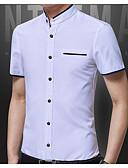 זול שמלות נשים-אחיד צווארון עומד(סיני) סגנון רחוב חולצה - בגדי ריקוד גברים / שרוולים קצרים