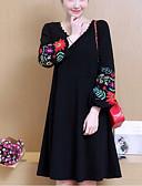 preiswerte Damen Kleider-Damen Übergrössen Street Schick Lantern Sleeve Lose Kleid Blumen Knielang V-Ausschnitt Schwarz