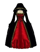 cheap Historical & Vintage Costumes-Rococo Victorian Costume Women's Dress Cloak Red+Black Vintage Cosplay Pleuche Long Sleeve Ankle Length