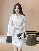 cheap Women's Fur & Faux Fur Coats-Women's Going out Cotton Slim A Line / Sheath Dress - Solid Colored Shirt Collar