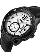 זול קווארץ-SKMEI לזוג שעוני ספורט Chinese לוח שנה / עמיד במים / שעונים יום יומיים עור אמיתי להקה פאר / יום יומי / אופנתי שחור / צג גדול