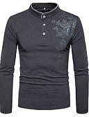 cheap Men's Tees & Tank Tops-Men's Chinoiserie Cotton Slim T-shirt - Floral Print Stand / Long Sleeve