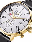 זול שעוני יוקרה-MINI FOCUS בגדי ריקוד גברים שעון יד קווארץ עור אמיתי חומר הרצועה שחור / חום 30 m עמיד במים לוח שנה שעון עצר אנלוגי פאר יום יומי אופנתי - חום זהב ורד זהב / לבן