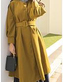 זול שמלות נשים-כותנה בגדי ריקוד נשים פול שחור מידה אחת מעיל ארוך אחיד גדול צווארון V
