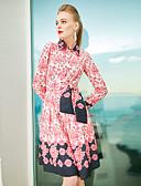 זול שמלות נשים-צווארון חולצה עד הברך גיאומטרי - שמלה נדן וינטאג' בגדי ריקוד נשים