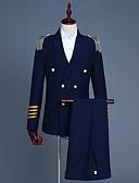 זול בלייזרים וחליפות לגברים-גיאומטרי צווארון V וינטאג' מועדונים ליציאה רגיל חליפות אביב פוליאסטר