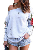 cheap Women's Hoodies & Sweatshirts-Women's Going out Cotton Loose Sweatshirt - Floral / Embroidery / Plaid / Fall