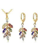 cheap Panties-Women's Crystal Jewelry Set - Crystal Leaf Classic, Fashion Include Drop Earrings Necklace Gold For Daily