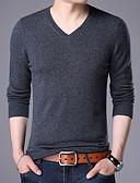 זול טרנינגים וקפוצ'ונים לגברים-אחיד - סוודר שרוול ארוך צווארון V סוף שבוע בגדי ריקוד גברים