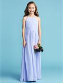 Χαμηλού Κόστους Λουλουδάτα φορέματα για κορίτσια-Γραμμή Α / Πριγκίπισσα Στρογγυλή Ψηλή Λαιμόκοψη Μακρύ Σιφόν Φόρεμα Νεαρών Παρανύμφων με Ζώνη / Κορδέλα / Πλαϊνό ντραπέ / Πλισέ με LAN TING BRIDE®