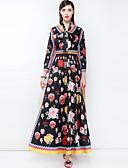 abordables Vestidos de Mujer-Mujer Básico / Boho Corte Swing Vestido Floral Maxi Escote en Pico