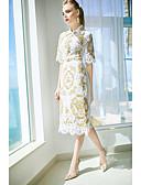 baratos Vestidos Femininos-Mulheres Bainha Vestido - Renda, Sólido Colarinho de Camisa