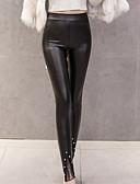 baratos Calcinhas-Mulheres PU Legging - Sólido Alto