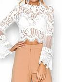 זול חולצה-אחיד משוחרר חולצה - בגדי ריקוד נשים תחרה שרוול התלקחות